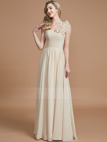 A-Line/Princess Floor-Length One-Shoulder Sleeveless Champagne Bridesmaid Dresses