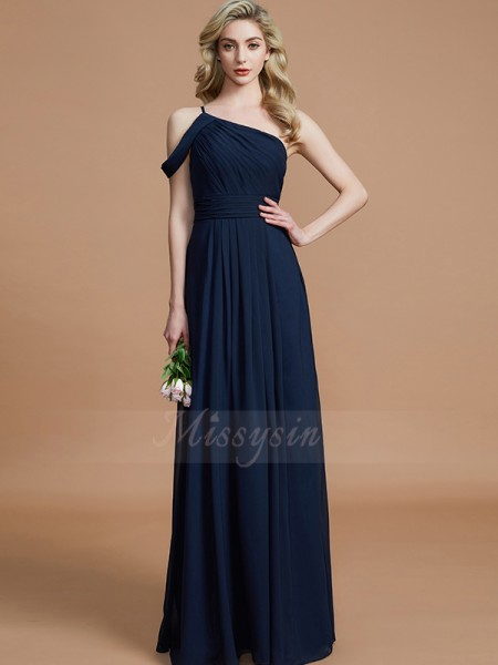 A-Line/Princess Floor-Length One-Shoulder Sleeveless Dark Navy Bridesmaid Dresses