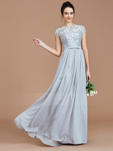 A-Line/Princess Floor-Length Jewel Short Sleeves Silver Bridesmaid Dresses
