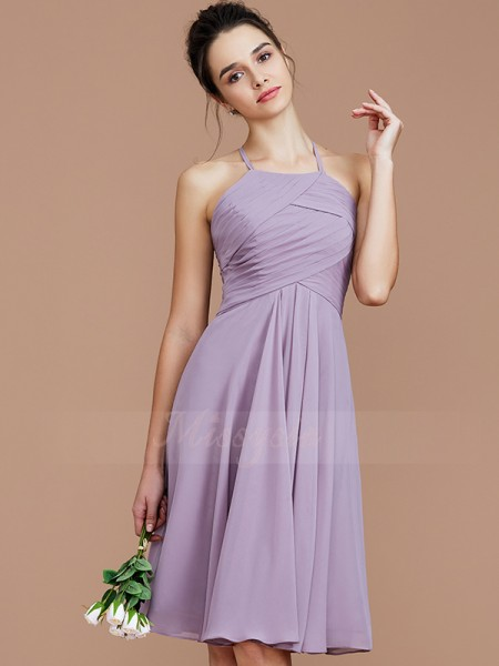 A-Line/Princess Short/Mini Halter Sleeveless Lilac Bridesmaid Dresses