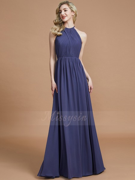 A-Line/Princess Floor-Length Scoop Sleeveless Brown Bridesmaid Dresses