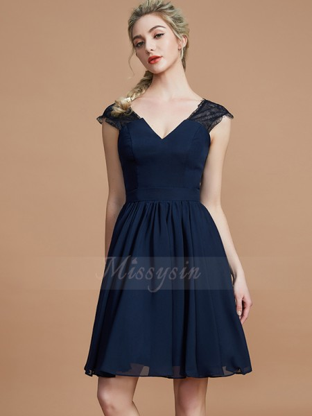 A-Line/Princess Knee-Length V-neck Sleeveless Dark Navy Bridesmaid Dresses