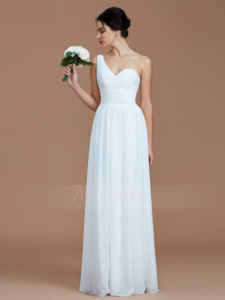 A-Line/Princess Floor-Length One-Shoulder Sleeveless White Bridesmaid Dresses