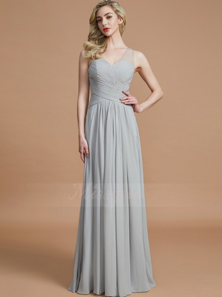 A-Line/Princess Floor-Length V-neck Sleeveless Silver Bridesmaid Dresses