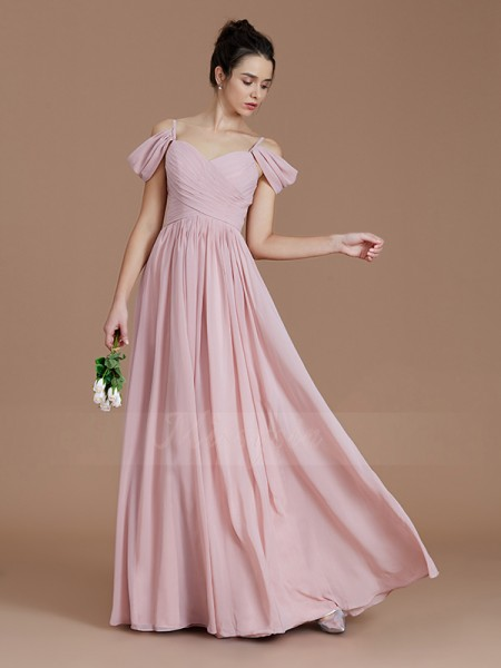 A-Line/Princess Floor-Length Off-the-Shoulder Sleeveless Pink Bridesmaid Dresses