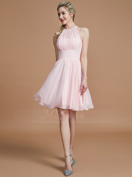 A-Line/Princess Knee-Length Scoop Sleeveless Pink Bridesmaid Dresses