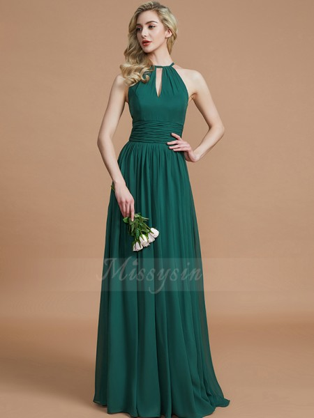 A-Line/Princess Floor-Length Scoop Sleeveless Dark Green Bridesmaid Dresses