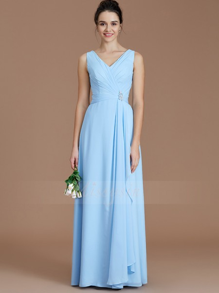A-Line/Princess Floor-Length V-neck Sleeveless Light Sky Blue Bridesmaid Dresses