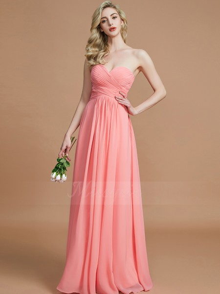 A-Line/Princess Floor-Length Sweetheart Sleeveless Watermelon Bridesmaid Dresses