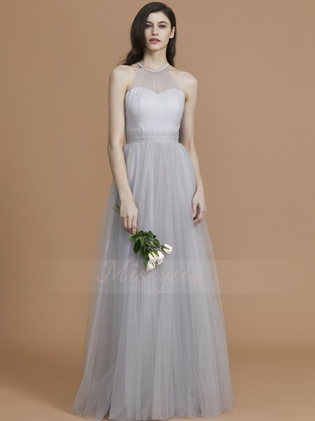 A-Line/Princess Floor-Length Halter Sleeveless Silver Bridesmaid Dresses