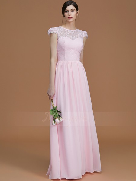A-Line/Princess Floor-Length Jewel Short Sleeves Pink Bridesmaid Dresses