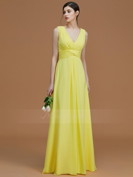 A-Line/Princess Floor-Length V-neck Sleeveless Daffodil Bridesmaid Dresses