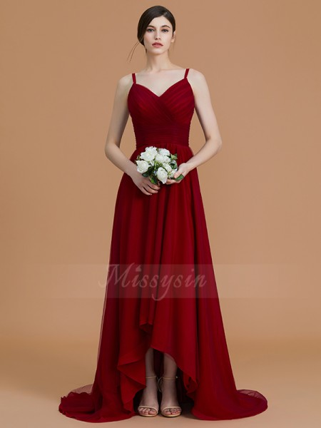 A-Line/Princess Asymmetrical Spaghetti Straps Sleeveless Burgundy Bridesmaid Dresses