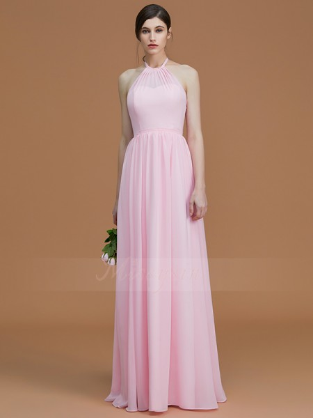 A-Line/Princess Floor-Length Halter Sleeveless Pink Bridesmaid Dresses