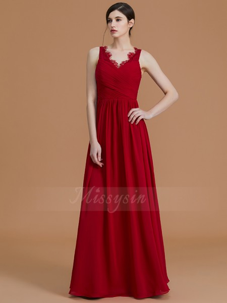 A-Line/Princess Floor-Length V-neck Sleeveless Burgundy Bridesmaid Dresses