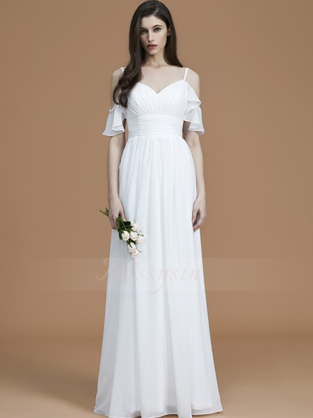 A-Line/Princess Floor-Length Spaghetti Straps Sleeveless White Bridesmaid Dresses