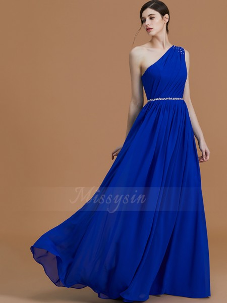 A-Line/Princess Floor-Length One-Shoulder Sleeveless Royal Blue Bridesmaid Dresses