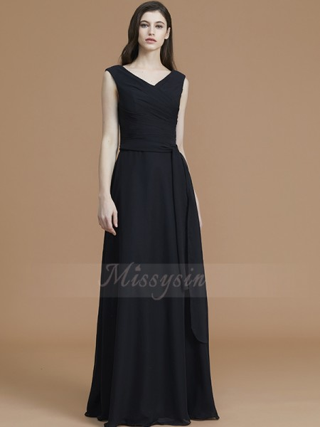 A-Line/Princess Floor-Length V-neck Sleeveless Black Bridesmaid Dresses