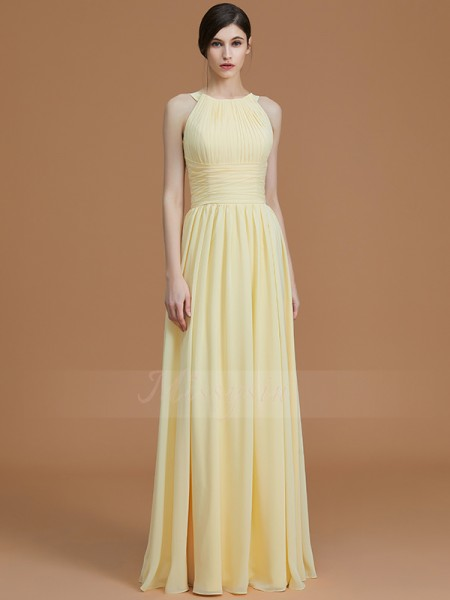A-Line/Princess Floor-Length Halter Sleeveless Daffodil Bridesmaid Dresses