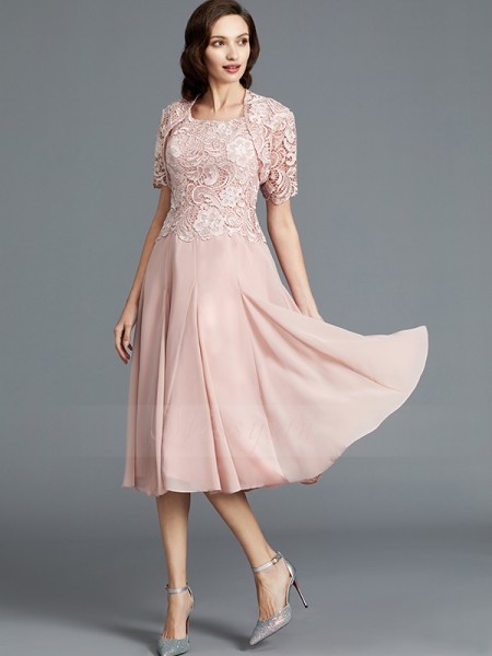 A-Line/Princess Tea-Length Sleeveless Scoop Pink Mother of the Bride Dresses