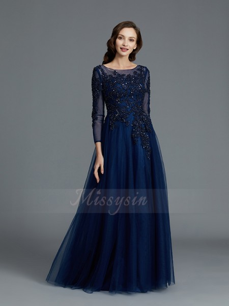 A-Line/Princess Floor-Length Long Sleeves Scoop Dark Navy Mother of the Bride Dresses