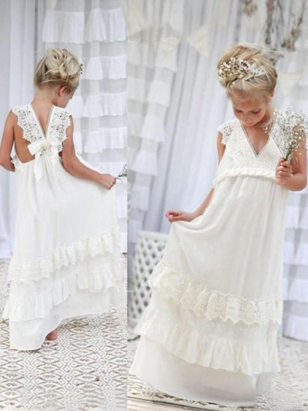 Empire Sleeveless V-neck Floor-Length Lace Chiffon Flower Girl Dresses