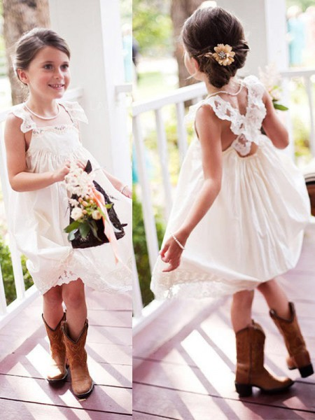 A-Line/Princess Sleeveless Square Knee-Length Lace Chiffon Flower Girl Dresses