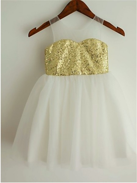 Sleeveless Scoop Short Gold Flower Girl Dresses