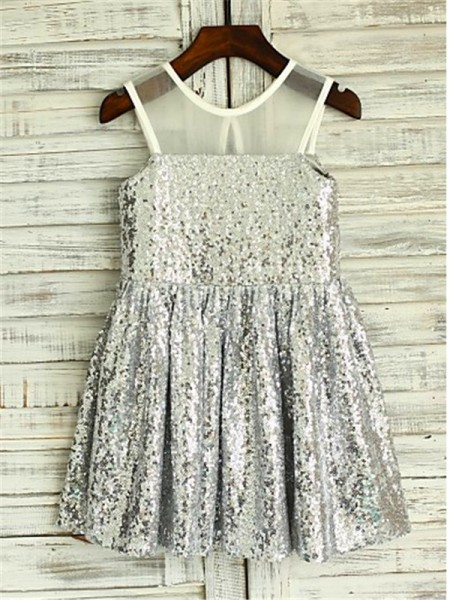 Sleeveless Scoop Tea-Length Silver Flower Girl Dresses