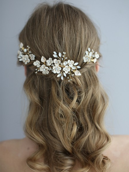 Simple Flower Ceramic Bridal Headpieces