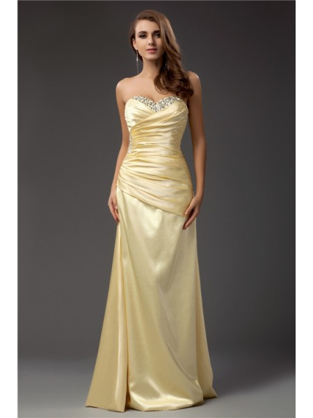 Sleeveless Sweetheart Long Daffodil Dresses