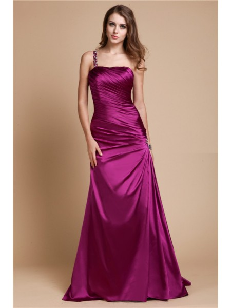 Sleeveless One-Shoulder Long Fuchsia Dresses