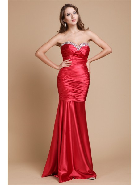 Sleeveless Sweetheart Long Red Dresses