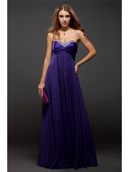 Sleeveless Sweetheart Long Grape Dresses
