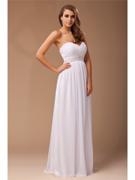 Sleeveless Sweetheart Long White Dresses