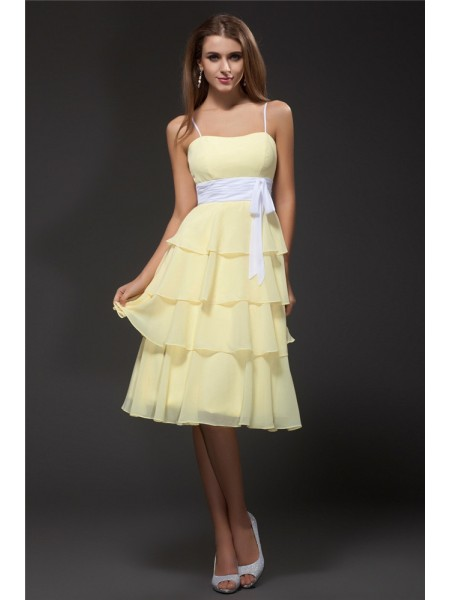 Sleeveless Spaghetti Straps Short Daffodil Bridesmaid Dresses