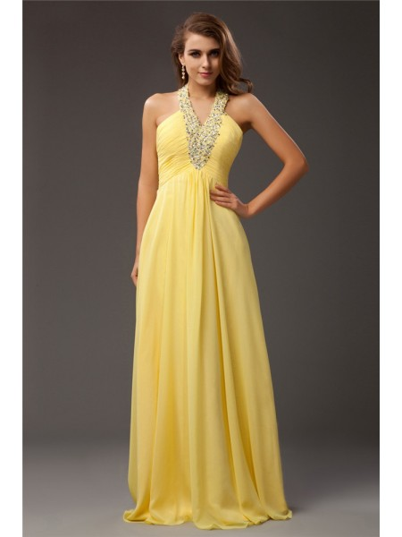 Sleeveless Halter Long Yellow Dresses