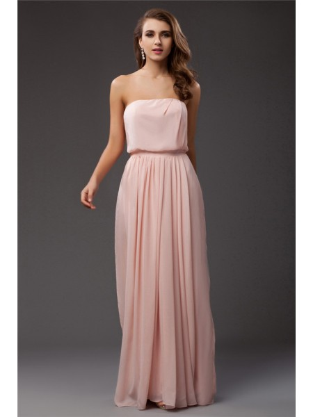Sleeveless Strapless Long Pink Dresses