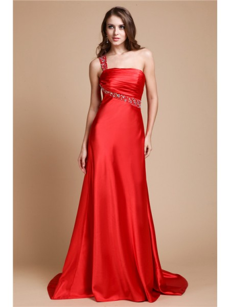Sleeveless One-Shoulder Sweep/Brush Train Red Dresses