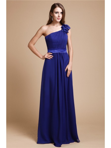 Sleeveless One-Shoulder Long Royal Blue Dresses