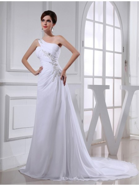 Sleeveless One-Shoulder Court Train White Wedding Dresses