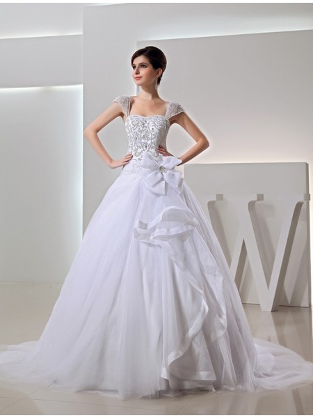 Sleeveless Straps Chapel Train White Wedding Dresses