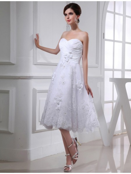 Sleeveless Sweetheart Short White Wedding Dresses