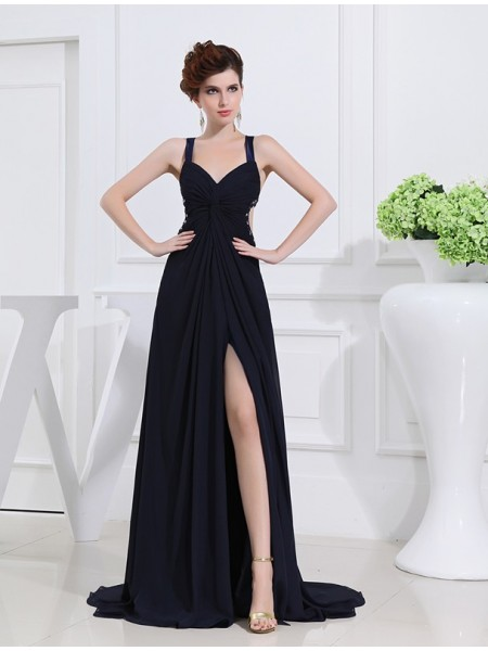 Sleeveless V-neck , Straps Long Dark Navy Dresses
