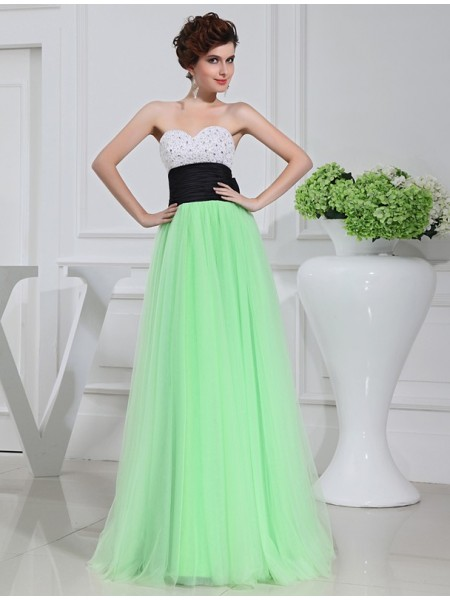 Sleeveless Sweetheart Long Green Dresses