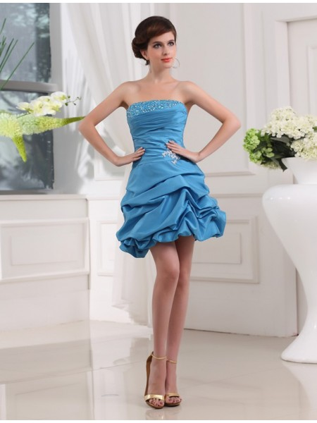 Sleeveless Strapless Short Blue Dresses
