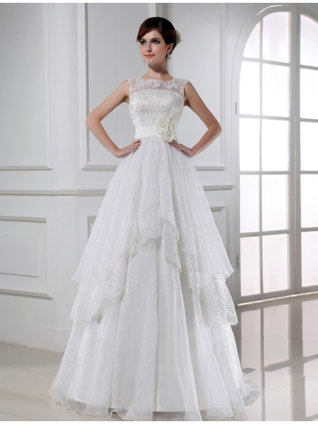 Sleeveless High Neck Long White Wedding Dresses