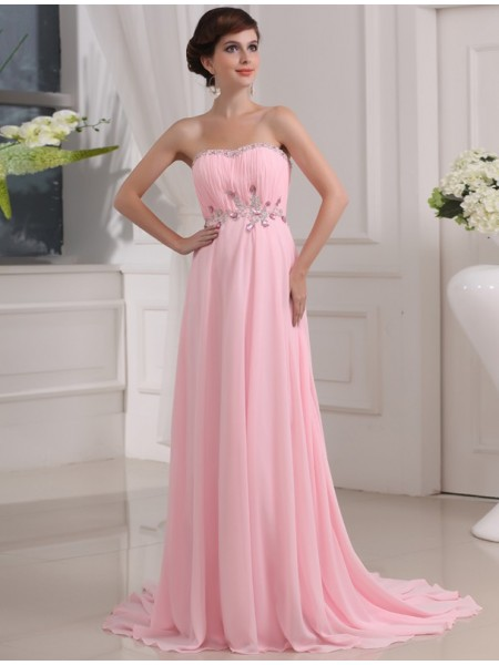 Sleeveless Strapless Sweep/Brush Train Pink Dresses