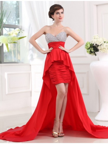 Sleeveless Sweetheart Asymmetrical Red Dresses