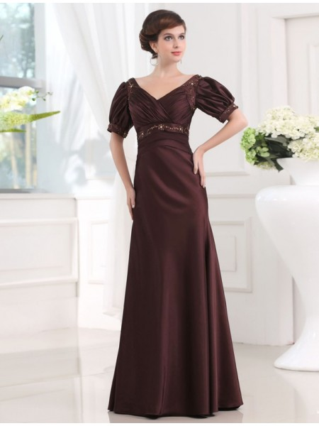 1/2 Sleeves V-neck Long Chocolate Dresses